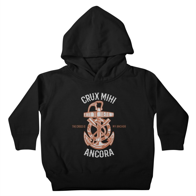 Crux Mihi Ancora   The Cross Is My Anchor   White & Red Kids Toddler Pullover Hoody by A Worthy Manner Goods & Clothing