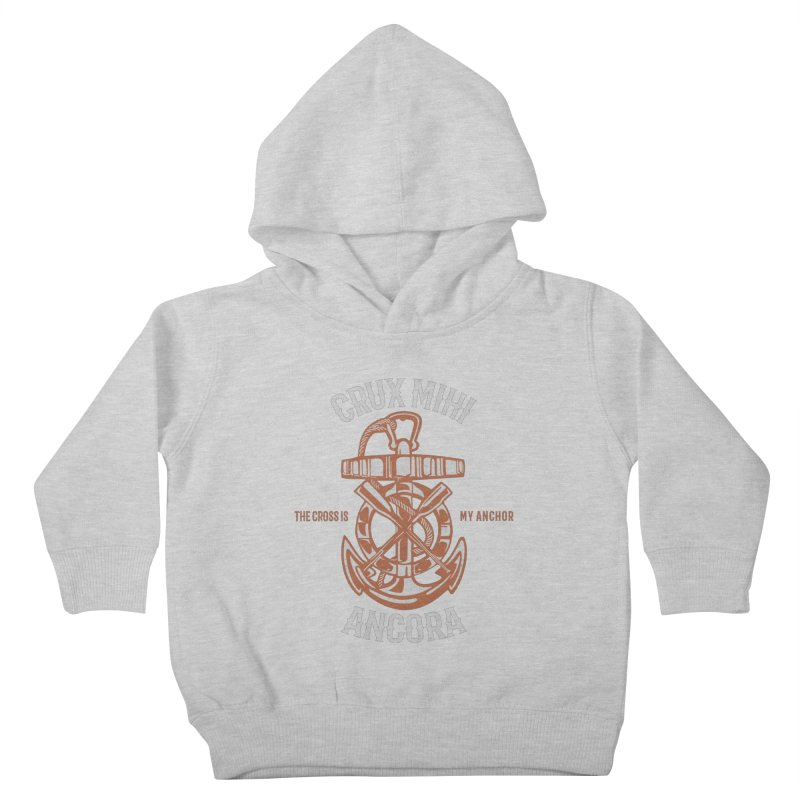 Crux Mihi Ancora | The Cross Is My Anchor | White & Red Kids Toddler Pullover Hoody by Reformed Christian Goods & Clothing