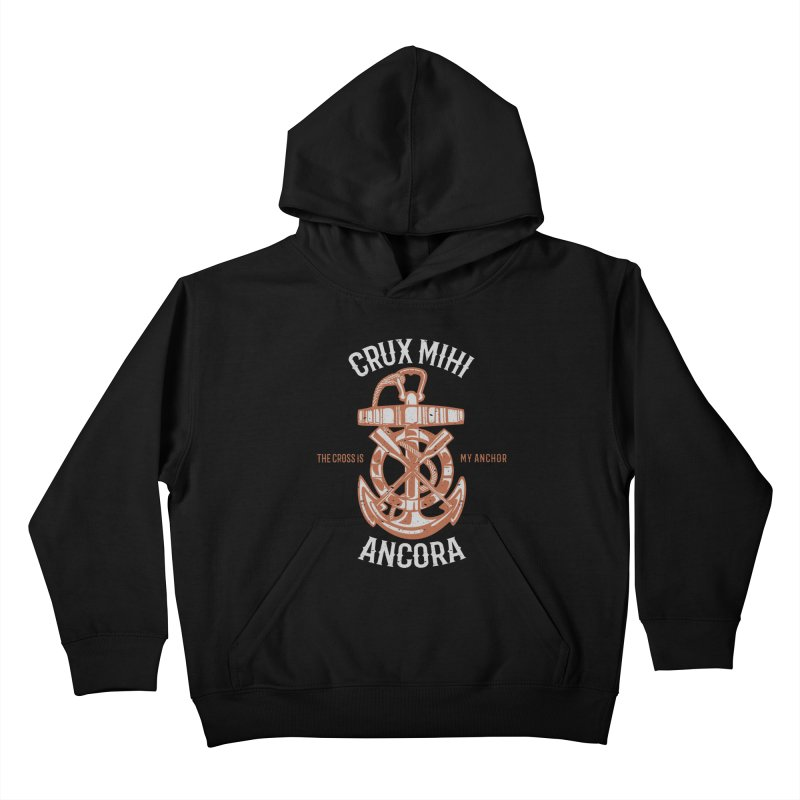 Crux Mihi Ancora | The Cross Is My Anchor | White & Red Kids Pullover Hoody by Reformed Christian Goods & Clothing