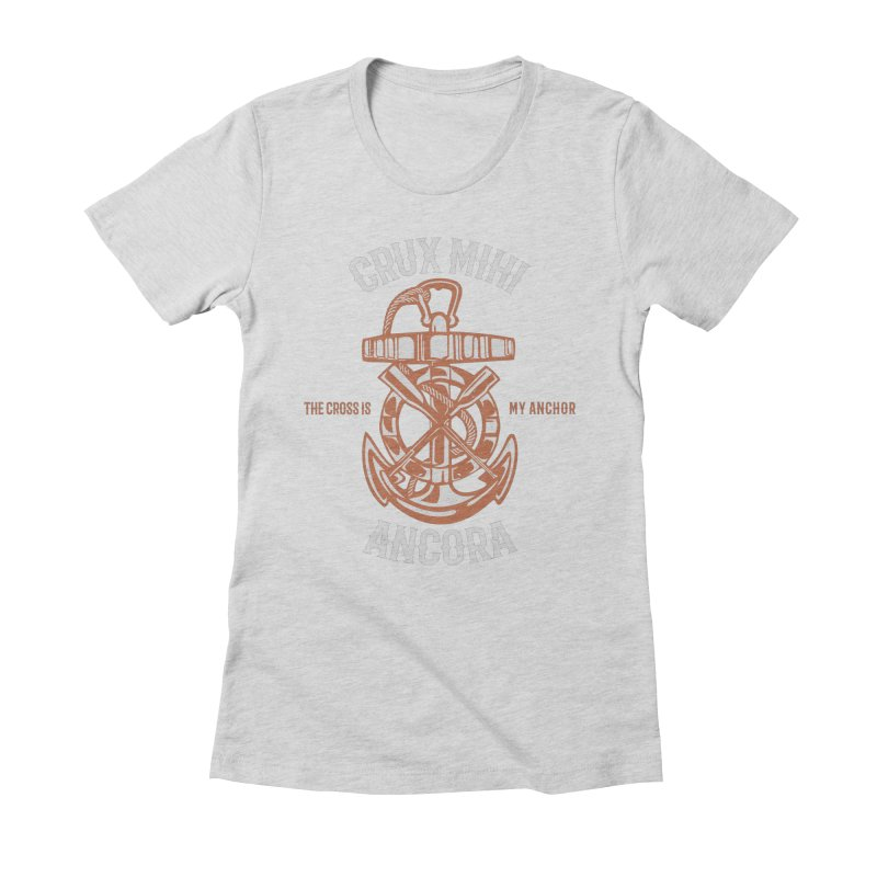 Crux Mihi Ancora | The Cross Is My Anchor | White & Red Women's Fitted T-Shirt by A Worthy Manner Goods & Clothing