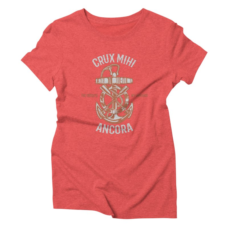 Crux Mihi Ancora | The Cross Is My Anchor | White & Red Women's Triblend T-Shirt by Reformed Christian Goods & Clothing