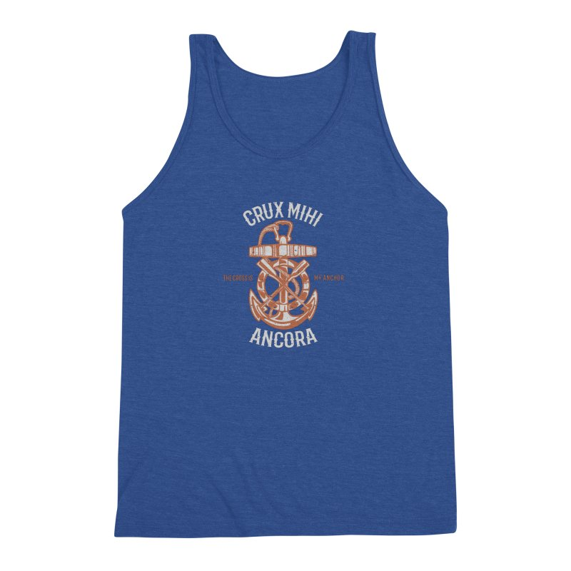 Crux Mihi Ancora   The Cross Is My Anchor   White & Red Men's Triblend Tank by Reformed Christian Goods & Clothing
