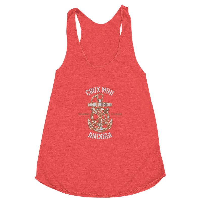 Crux Mihi Ancora | The Cross Is My Anchor | White & Red Women's Racerback Triblend Tank by Reformed Christian Goods & Clothing