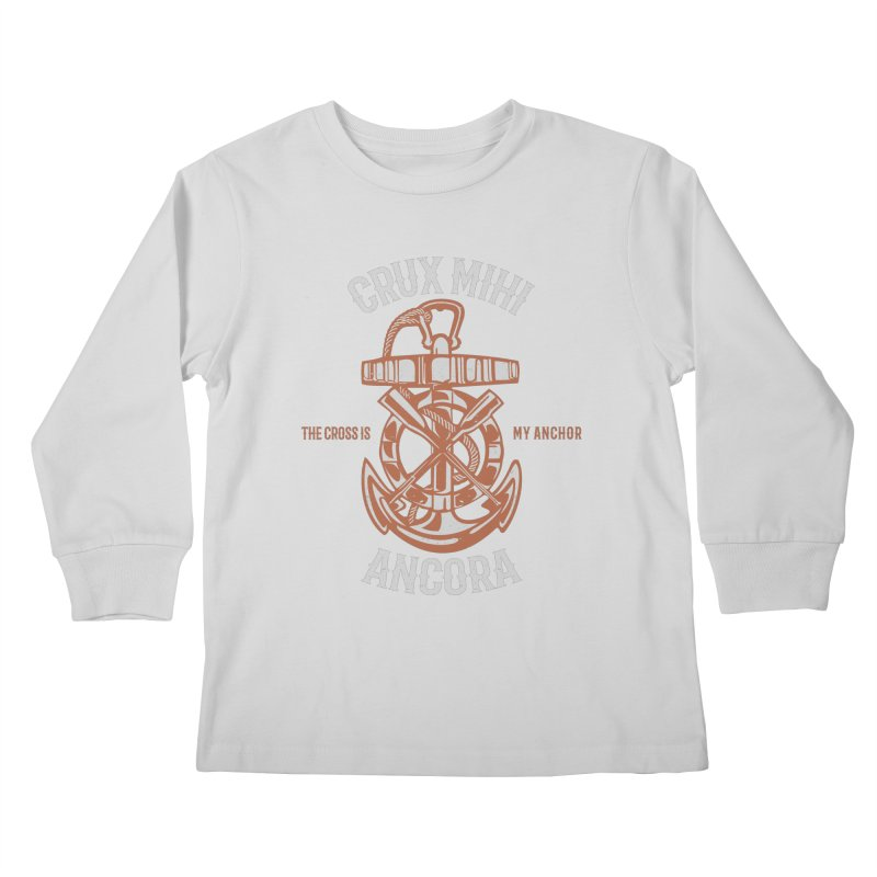Crux Mihi Ancora | The Cross Is My Anchor | White & Red Kids Longsleeve T-Shirt by A Worthy Manner Goods & Clothing