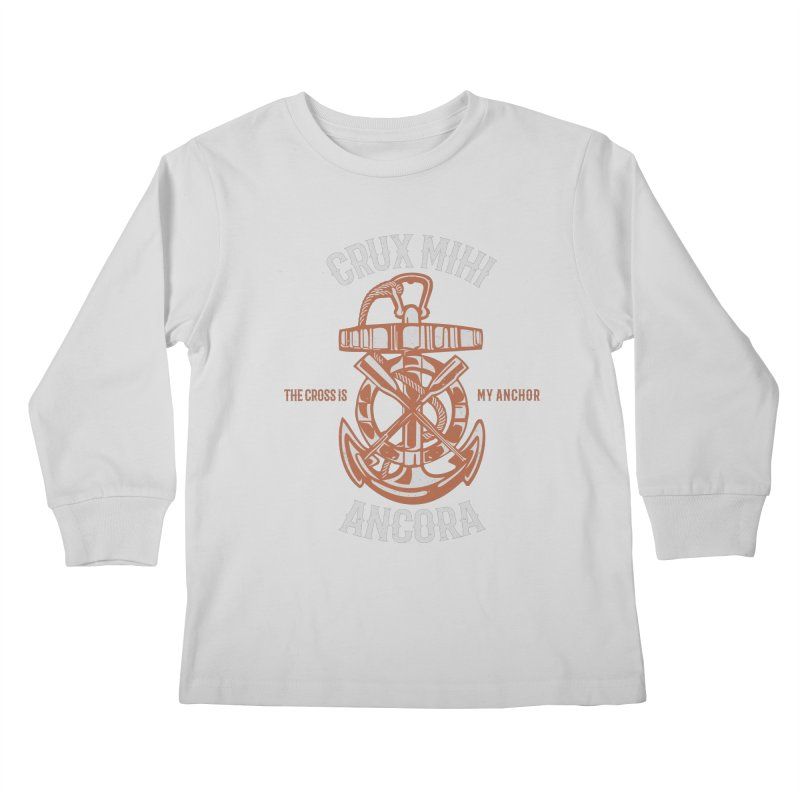 Crux Mihi Ancora | The Cross Is My Anchor | White & Red Kids Longsleeve T-Shirt by Reformed Christian Goods & Clothing