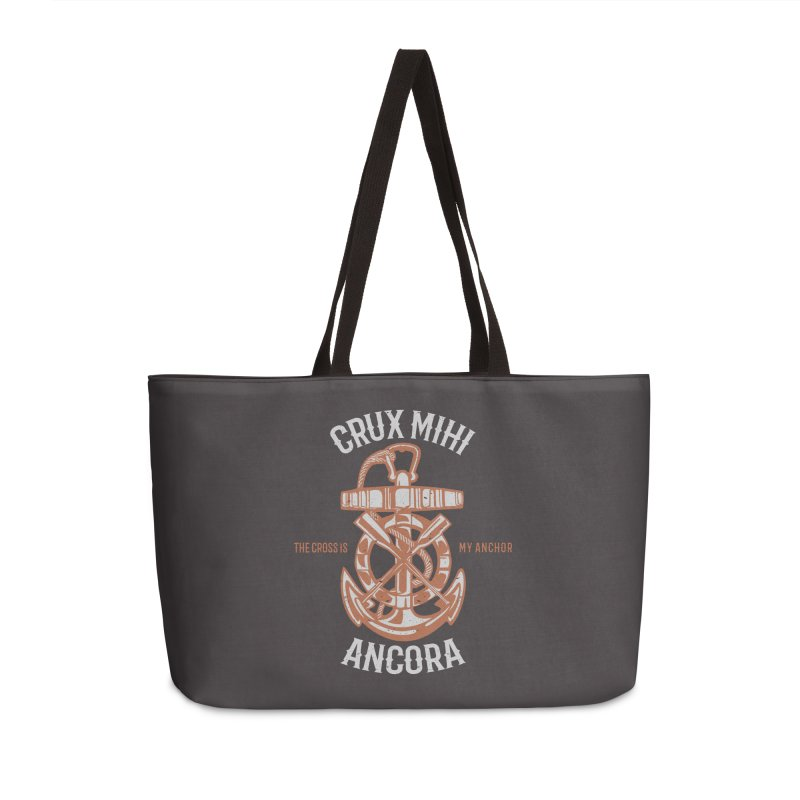 Crux Mihi Ancora | The Cross Is My Anchor | White & Red Accessories Weekender Bag Bag by Reformed Christian Goods & Clothing