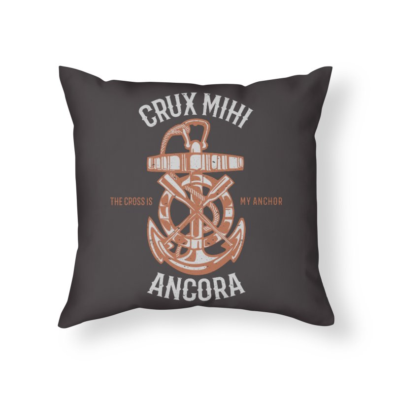 Crux Mihi Ancora | The Cross Is My Anchor | White & Red Home Throw Pillow by Reformed Christian Goods & Clothing