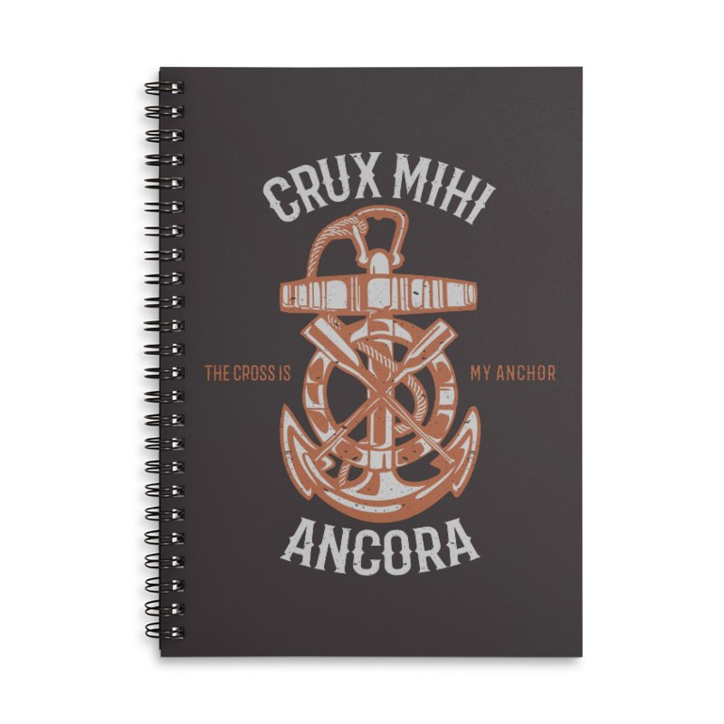 Crux Mihi Ancora | The Cross Is My Anchor | White & Red Accessories Lined Spiral Notebook by Reformed Christian Goods & Clothing