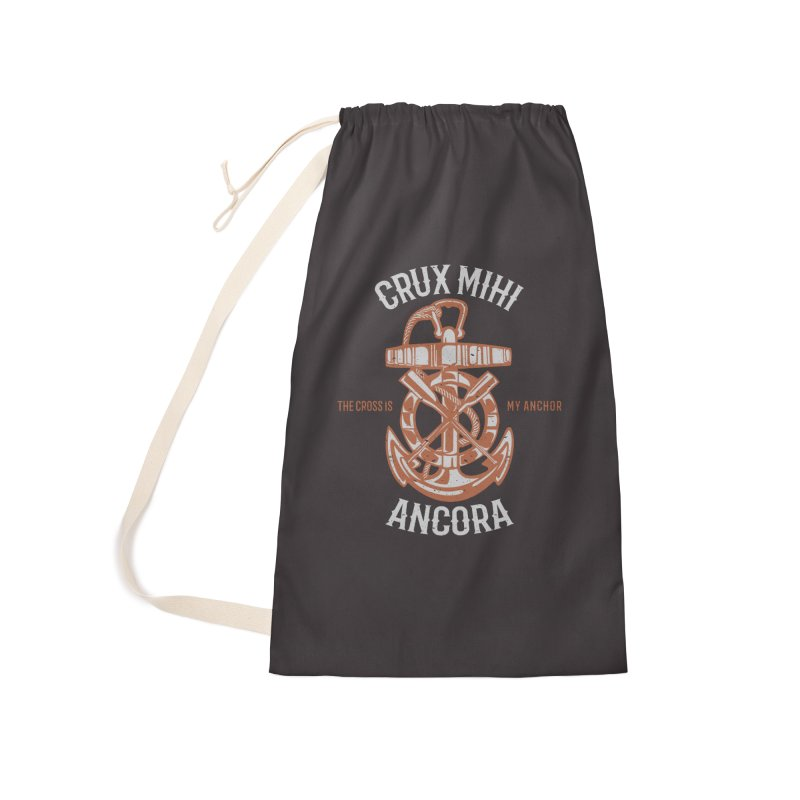 Crux Mihi Ancora | The Cross Is My Anchor | White & Red Accessories Laundry Bag Bag by Reformed Christian Goods & Clothing