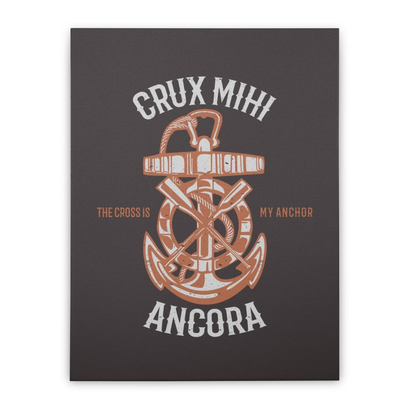 Crux Mihi Ancora | The Cross Is My Anchor | White & Red Home Stretched Canvas by A Worthy Manner Goods & Clothing