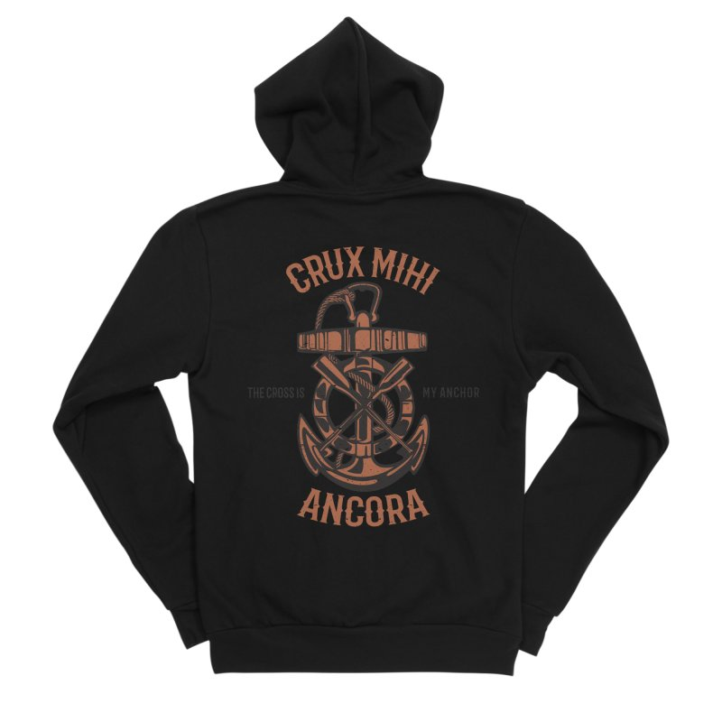 Crux Mihi Ancora   The Cross Is My Anchor   Red & Black Women's Sponge Fleece Zip-Up Hoody by A Worthy Manner Goods & Clothing