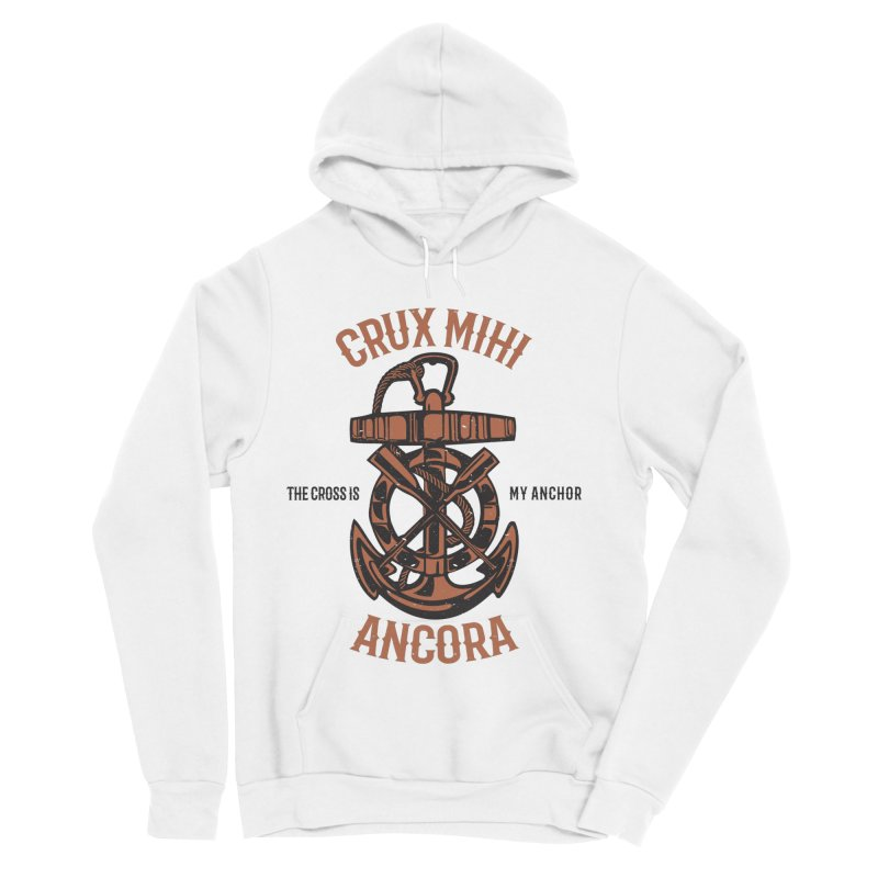 Crux Mihi Ancora | The Cross Is My Anchor | Red & Black Men's Sponge Fleece Pullover Hoody by A Worthy Manner Goods & Clothing
