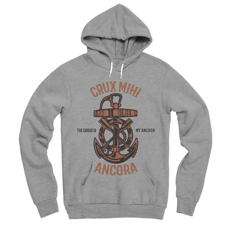 Crux Mihi Ancora | The Cross Is My Anchor | Red & Black Men's Sponge Fleece Pullover Hoody by Reformed Christian Goods & Clothing