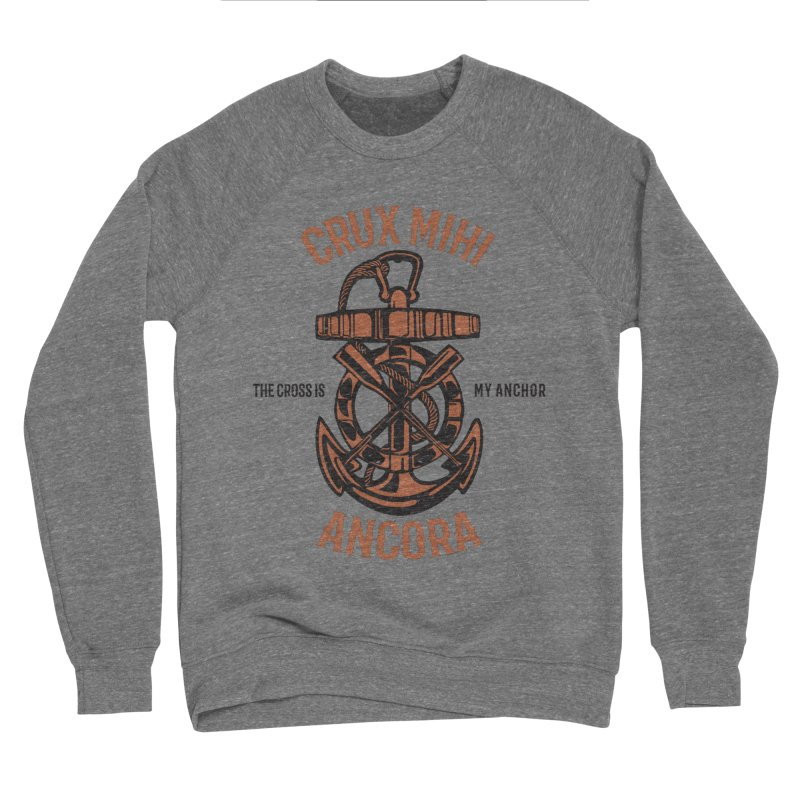 Crux Mihi Ancora | The Cross Is My Anchor | Red & Black Men's Sponge Fleece Sweatshirt by Reformed Christian Goods & Clothing