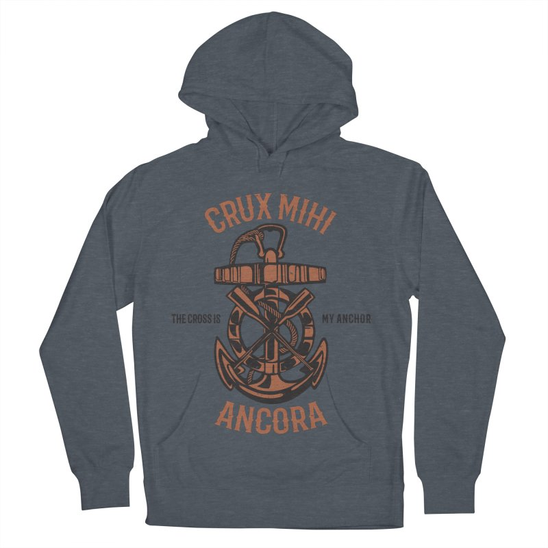 Crux Mihi Ancora | The Cross Is My Anchor | Red & Black Men's French Terry Pullover Hoody by A Worthy Manner Goods & Clothing