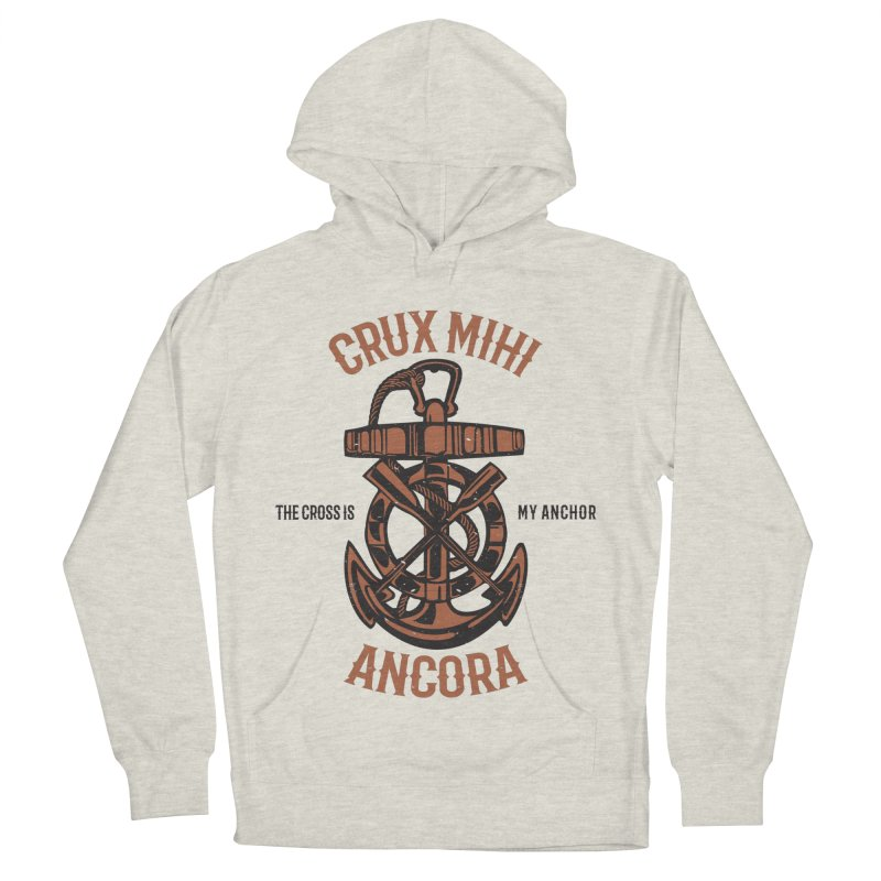Crux Mihi Ancora | The Cross Is My Anchor | Red & Black Men's French Terry Pullover Hoody by Reformed Christian Goods & Clothing
