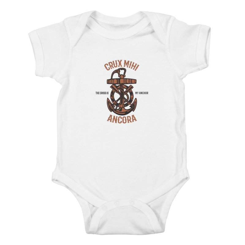 Crux Mihi Ancora | The Cross Is My Anchor | Red & Black Kids Baby Bodysuit by A Worthy Manner Goods & Clothing