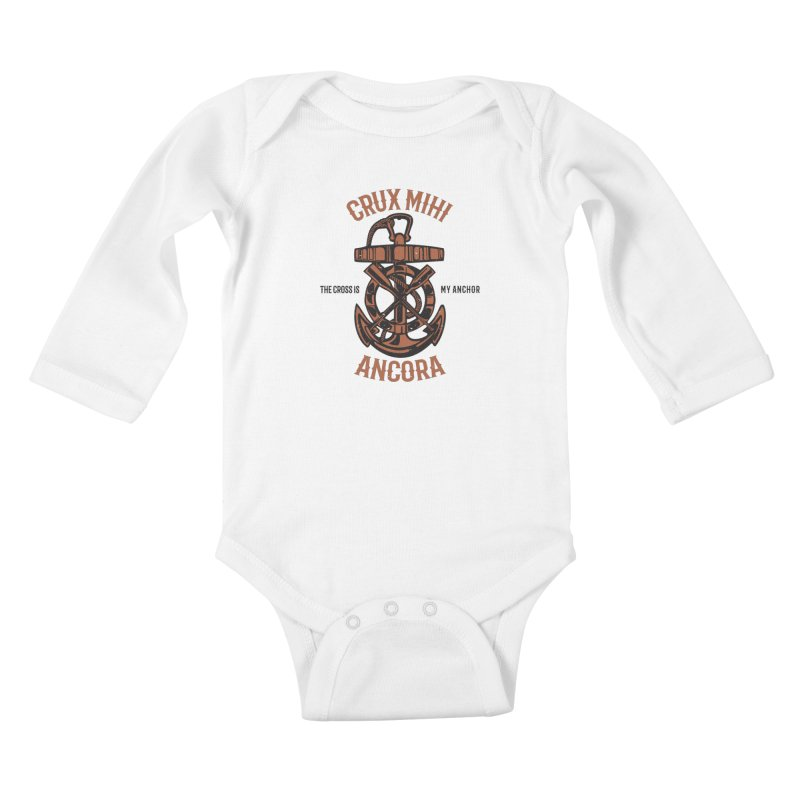 Crux Mihi Ancora | The Cross Is My Anchor | Red & Black Kids Baby Longsleeve Bodysuit by Reformed Christian Goods & Clothing