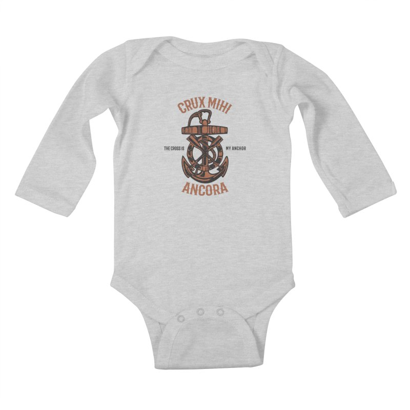 Crux Mihi Ancora | The Cross Is My Anchor | Red & Black Kids Baby Longsleeve Bodysuit by A Worthy Manner Goods & Clothing