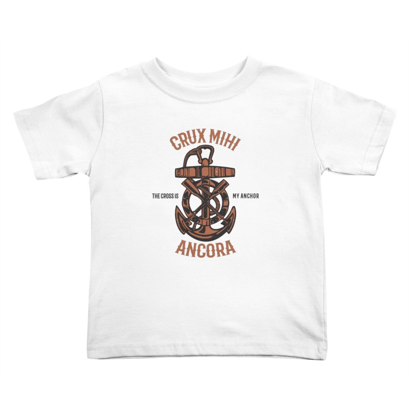 Crux Mihi Ancora | The Cross Is My Anchor | Red & Black Kids Toddler T-Shirt by A Worthy Manner Goods & Clothing