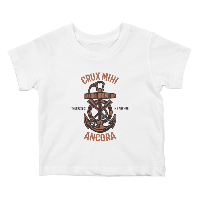 Crux Mihi Ancora | The Cross Is My Anchor | Red & Black Kids Baby T-Shirt by Reformed Christian Goods & Clothing
