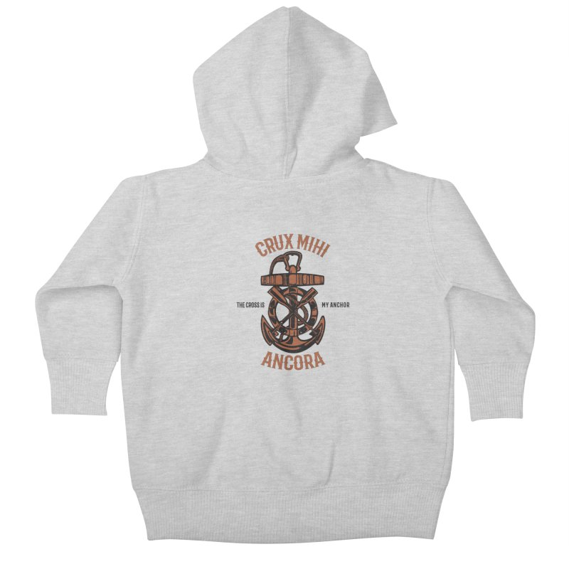 Crux Mihi Ancora | The Cross Is My Anchor | Red & Black Kids Baby Zip-Up Hoody by A Worthy Manner Goods & Clothing