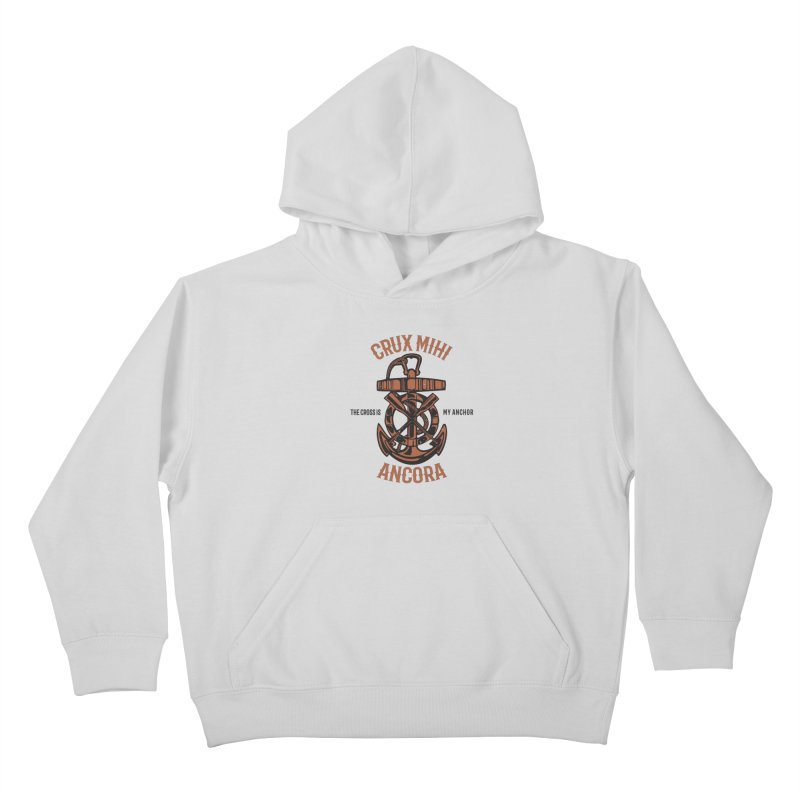 Crux Mihi Ancora | The Cross Is My Anchor | Red & Black Kids Pullover Hoody by A Worthy Manner Goods & Clothing