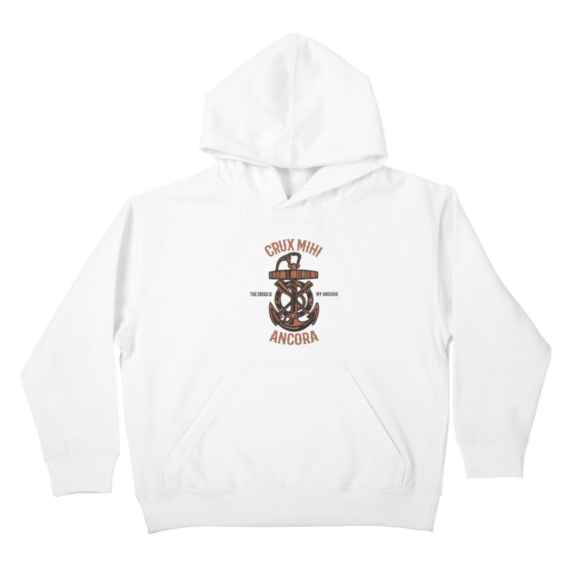 Crux Mihi Ancora | The Cross Is My Anchor | Red & Black Kids Pullover Hoody by Reformed Christian Goods & Clothing
