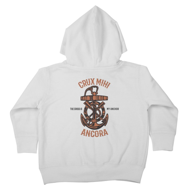 Crux Mihi Ancora | The Cross Is My Anchor | Red & Black Kids Toddler Zip-Up Hoody by Reformed Christian Goods & Clothing