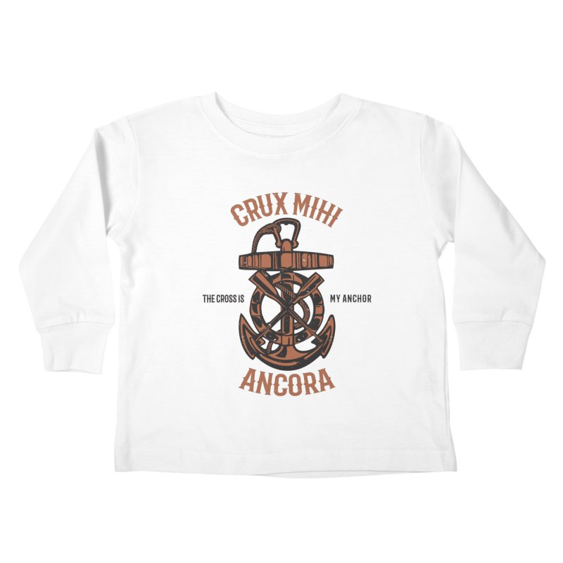 Crux Mihi Ancora | The Cross Is My Anchor | Red & Black Kids Toddler Longsleeve T-Shirt by A Worthy Manner Goods & Clothing