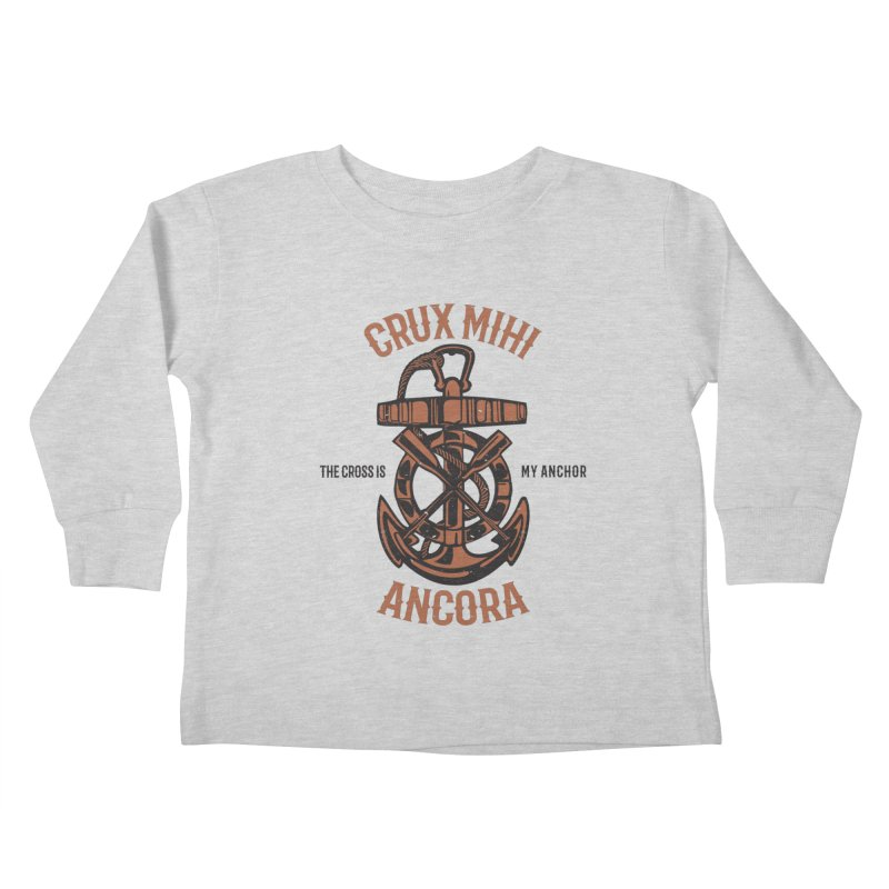 Crux Mihi Ancora | The Cross Is My Anchor | Red & Black Kids Toddler Longsleeve T-Shirt by Reformed Christian Goods & Clothing