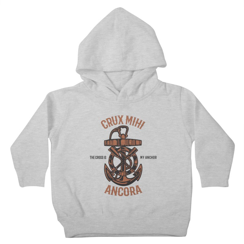Crux Mihi Ancora | The Cross Is My Anchor | Red & Black Kids Toddler Pullover Hoody by Reformed Christian Goods & Clothing
