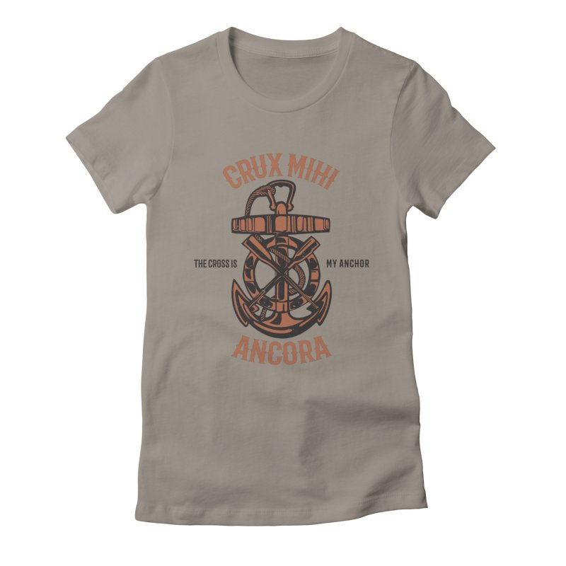 Crux Mihi Ancora   The Cross Is My Anchor   Red & Black Women's Fitted T-Shirt by Reformed Christian Goods & Clothing