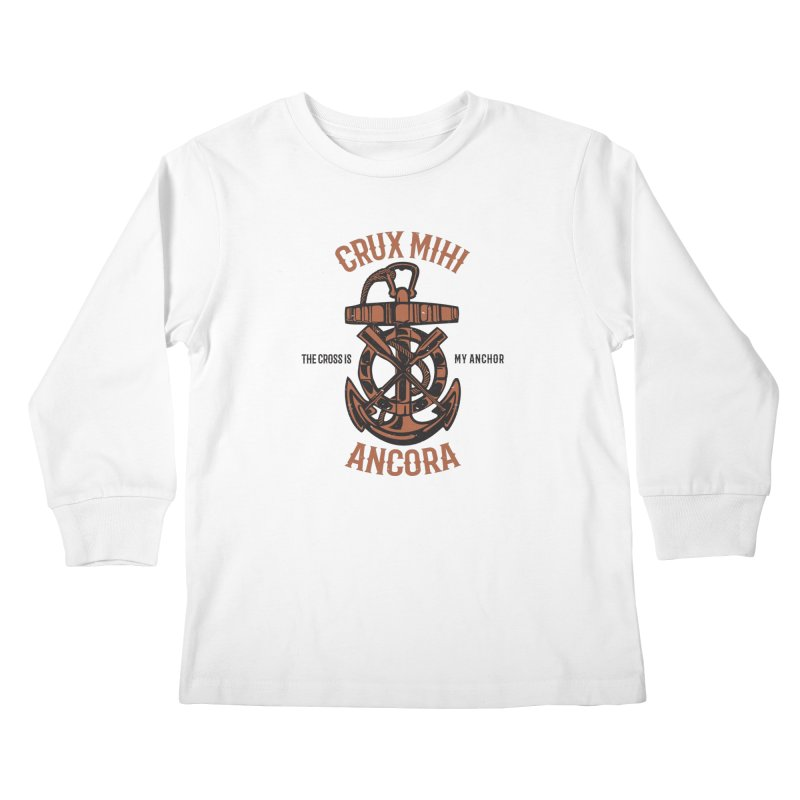 Crux Mihi Ancora | The Cross Is My Anchor | Red & Black Kids Longsleeve T-Shirt by A Worthy Manner Goods & Clothing