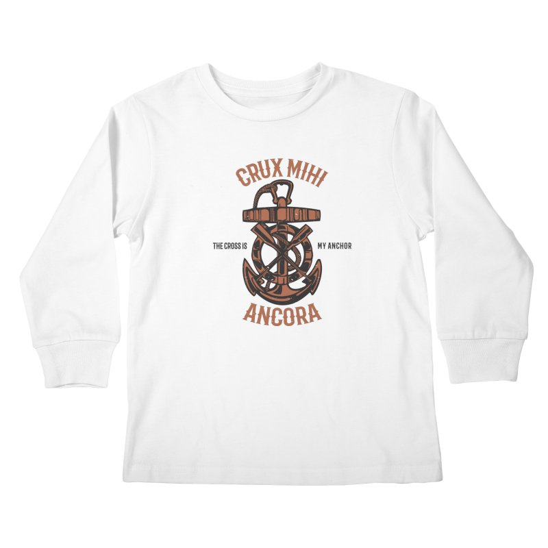 Crux Mihi Ancora | The Cross Is My Anchor | Red & Black Kids Longsleeve T-Shirt by Reformed Christian Goods & Clothing