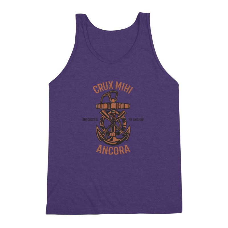 Crux Mihi Ancora | The Cross Is My Anchor | Red & Black Men's Triblend Tank by Reformed Christian Goods & Clothing