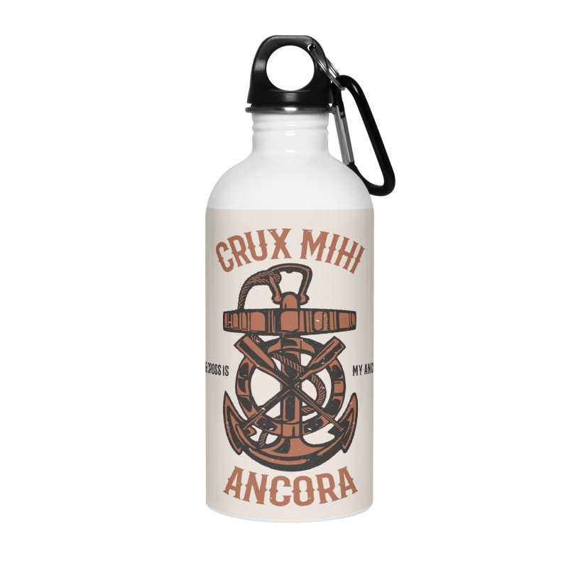 Crux Mihi Ancora | The Cross Is My Anchor | Red & Black Accessories Water Bottle by Reformed Christian Goods & Clothing