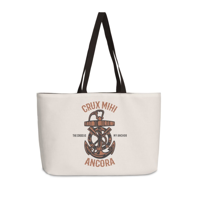 Crux Mihi Ancora | The Cross Is My Anchor | Red & Black Accessories Weekender Bag Bag by Reformed Christian Goods & Clothing