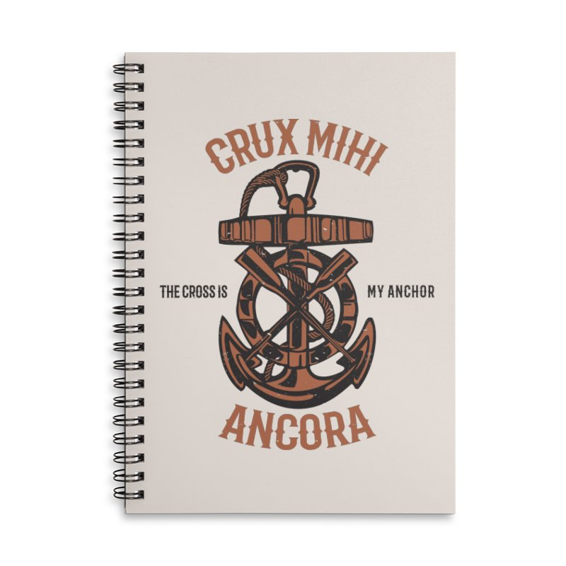 Crux Mihi Ancora | The Cross Is My Anchor | Red & Black Accessories Lined Spiral Notebook by Reformed Christian Goods & Clothing