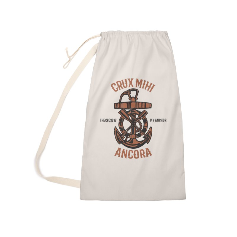 Crux Mihi Ancora | The Cross Is My Anchor | Red & Black Accessories Laundry Bag Bag by Reformed Christian Goods & Clothing