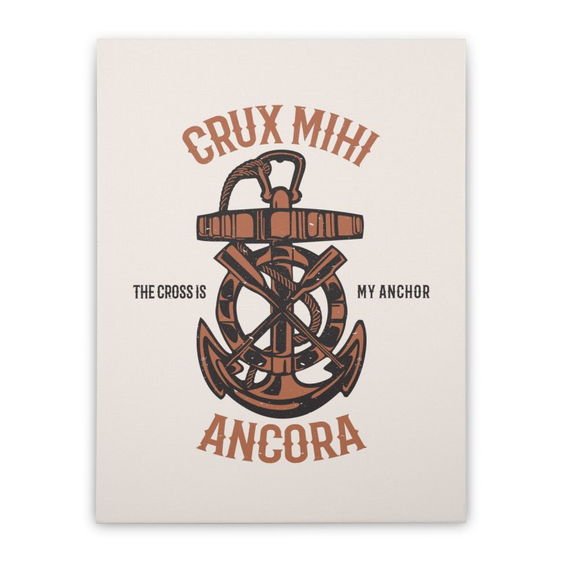 Crux Mihi Ancora | The Cross Is My Anchor | Red & Black Home Stretched Canvas by A Worthy Manner Goods & Clothing
