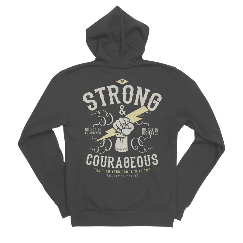 Be Strong and Courageous | Joshua 1:9 Men's Sponge Fleece Zip-Up Hoody by Reformed Christian Goods & Clothing