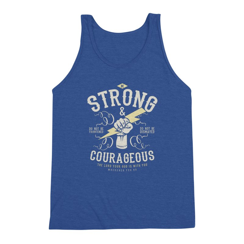 Be Strong and Courageous | Joshua 1:9 Men's Triblend Tank by A Worthy Manner Goods & Clothing