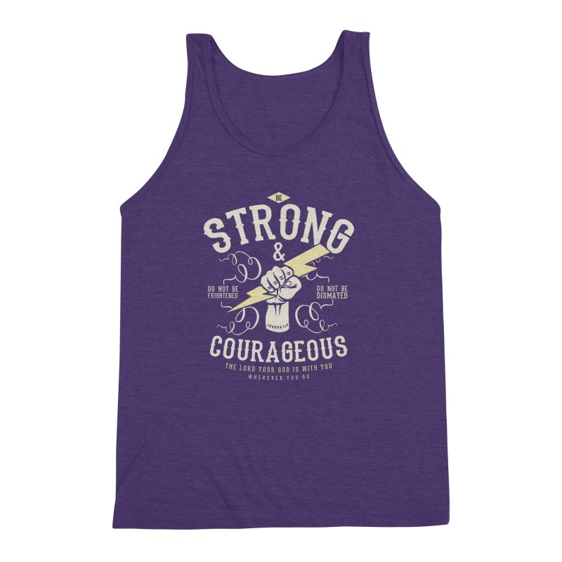 Be Strong and Courageous | Joshua 1:9 Men's Triblend Tank by Reformed Christian Goods & Clothing