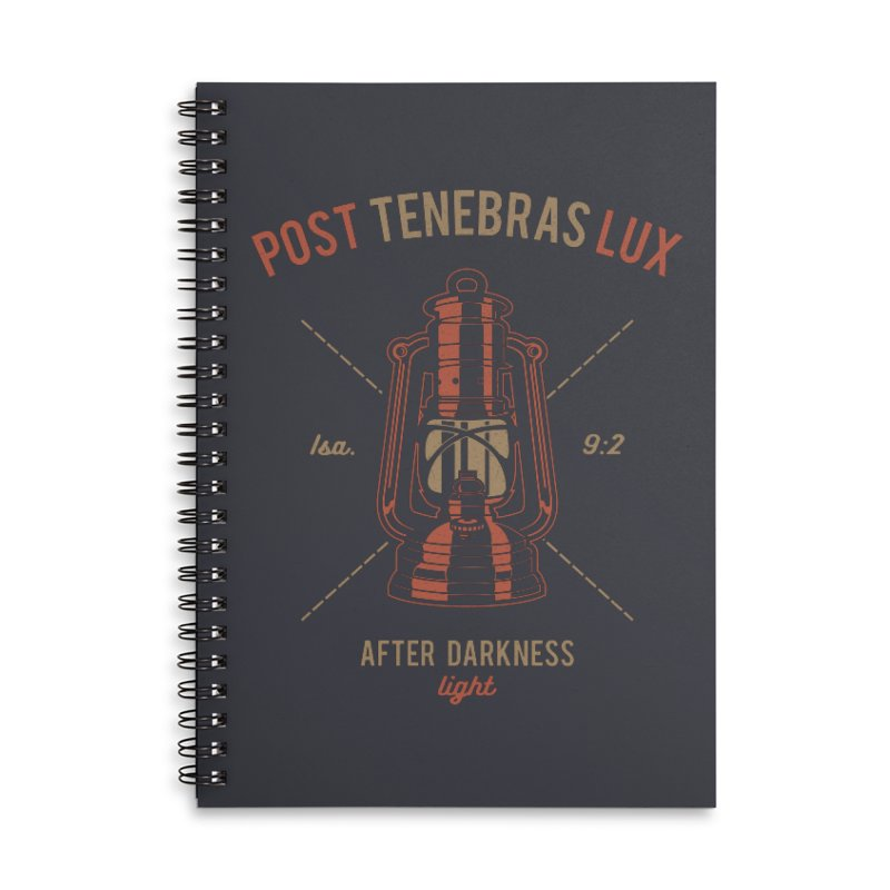 Post Tenebras Lux Accessories Lined Spiral Notebook by Reformed Christian Goods & Clothing