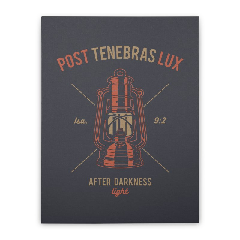 Post Tenebras Lux Home Stretched Canvas by Reformed Christian Goods & Clothing