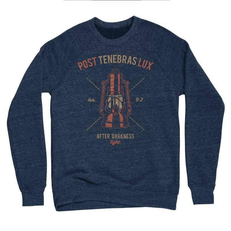 Post Tenebras Lux Men's Sponge Fleece Sweatshirt by Reformed Christian Goods & Clothing