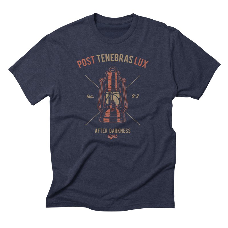 Post Tenebras Lux in Men's Triblend T-Shirt Navy by Reformed Christian Goods & Clothing