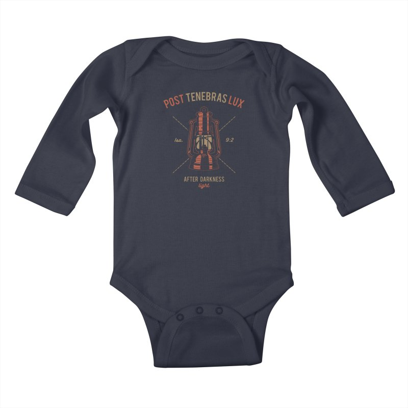 Post Tenebras Lux Kids Baby Longsleeve Bodysuit by A Worthy Manner Goods & Clothing