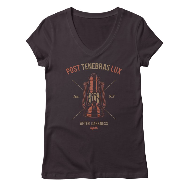 Post Tenebras Lux Women's Regular V-Neck by A Worthy Manner Goods & Clothing